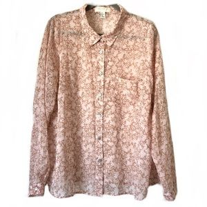 Forever 21  L/S Floral Print Sheer Blouse: 2X